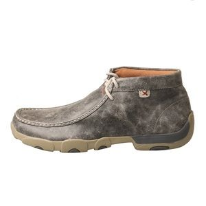 Twisted X Gray Leather Driving Moc Boots  9 1/2 M